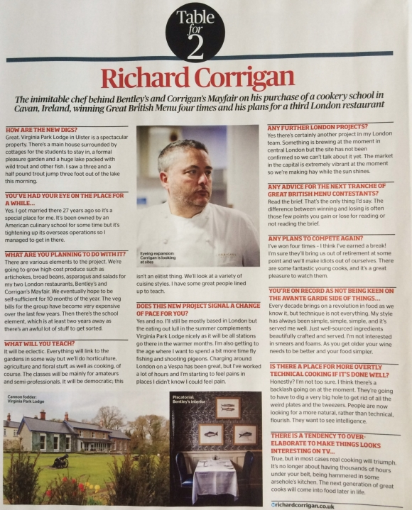 Richard Corrigan Chef PR